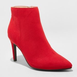 A New Day Stiletto Red Micro Suede Ankle Boot 7